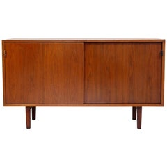 Mid-Century Modern Early Florence Knoll Walnut Credenza Leather Pulls, 1960s