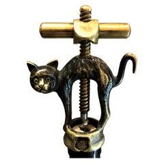 Antique German Black Cat Corkscrew by Monopol Usbeck Co., circa 1900-1930