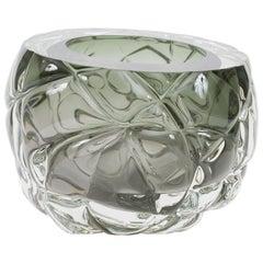 Modern Handmade Tourmaline Green 'Cut' Vases Made in Brooklyn