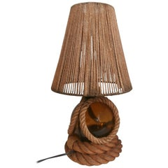 Large Rope Lamp Audoux Minet, circa 1960