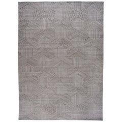 Silver Geometric Shapes Wool Rug