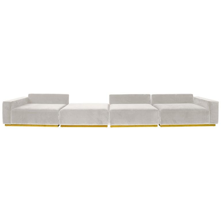 Oberon Cream Velvet Sofa Sectional by Atra For Sale