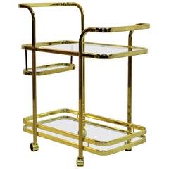 Mid-Century Modern Baughman for DIA Brass Glass Bart Cart Hollywood Regency