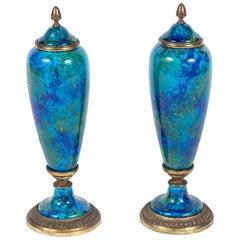 Zierlich, Türkis, Porzellan Urnen, um 1910