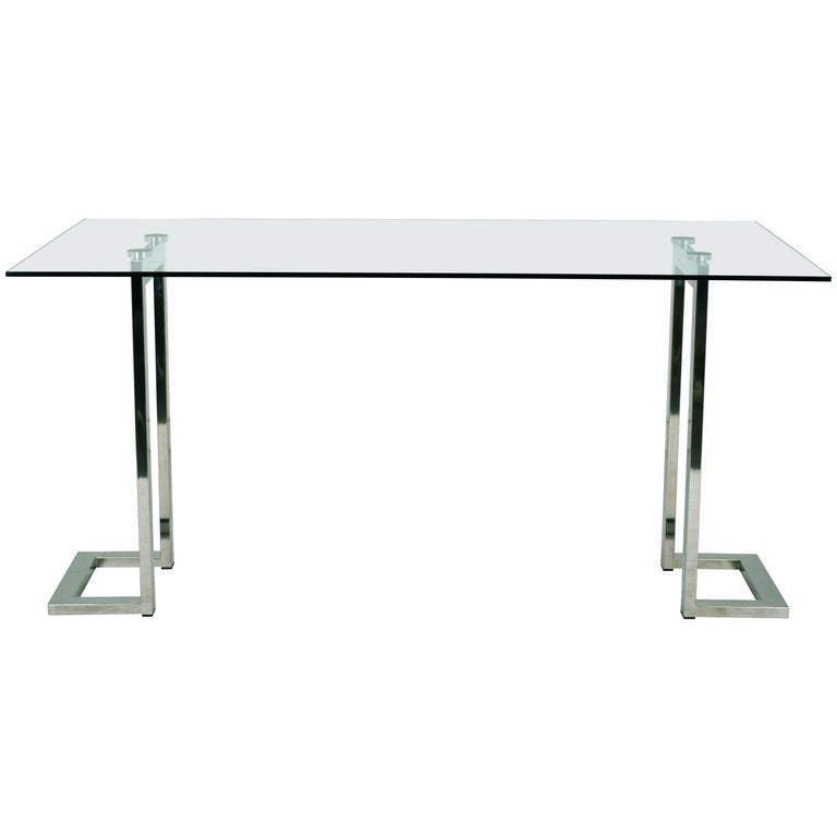 e2d3f7f30bfb Modern Chrome and Glass Dining Table For Sale at 1stdibs