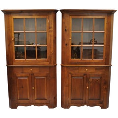 Pair of Pine Wood Colonial Style Corner Cupboard China Cabinets by Tom Seely