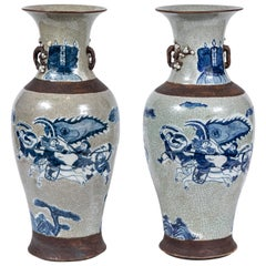 Unusual, Chinese, Gray-and-Blue Urns