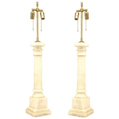 Pair of Italian Neoclassic Style Alabaster Table Lamps