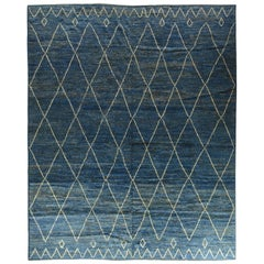 Moroccan Design Blue and Silver Rug