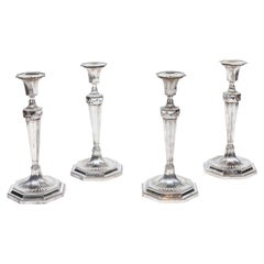 19th Century, English, Silver Candlesticks