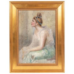 19th Century, French Oil Painting of a Seated Ballerina