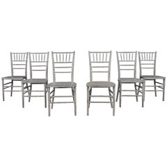 Set of 6 Wood Painted Faux Bamboo Dining Chairs