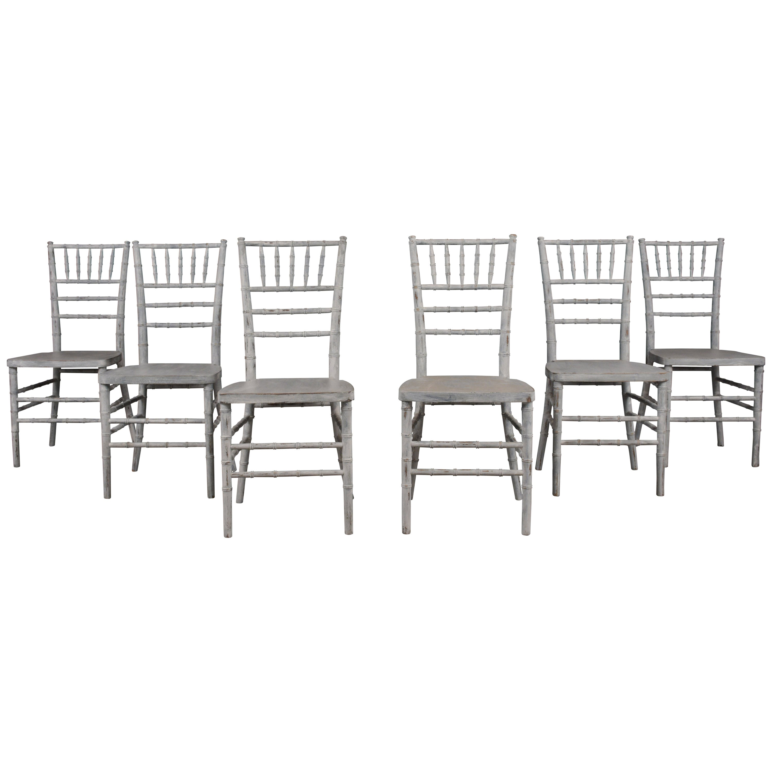 Set of 6 Faux Bamboo Dining Chairs