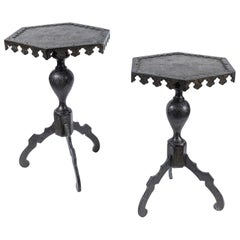 Pair of 19th Century, Solid Bronze, Arabic Side Tables