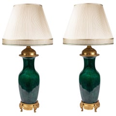 Pair of Large, 19th Century, Green, Glazed French Lamps