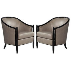 Pair of Leather Art Deco Parlor Armchairs with Black Lacquer Finish