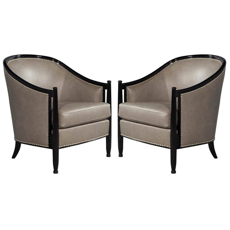 Pair of Leather Art Deco Parlor Armchairs with Black Lacquer Finish For Sale