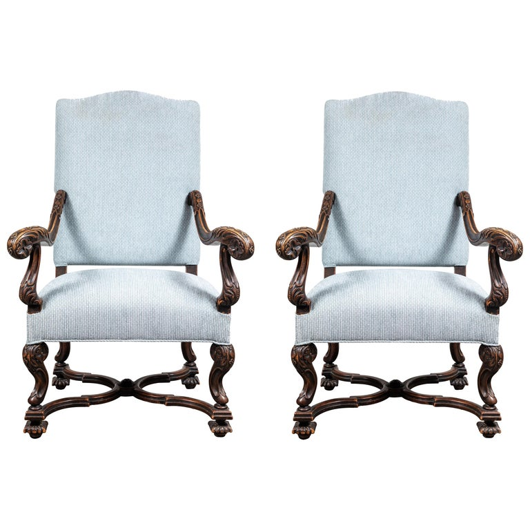 Pair of 19th Century, Italian Armchairs For Sale