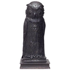 English Victorian Table Lamp of Owl