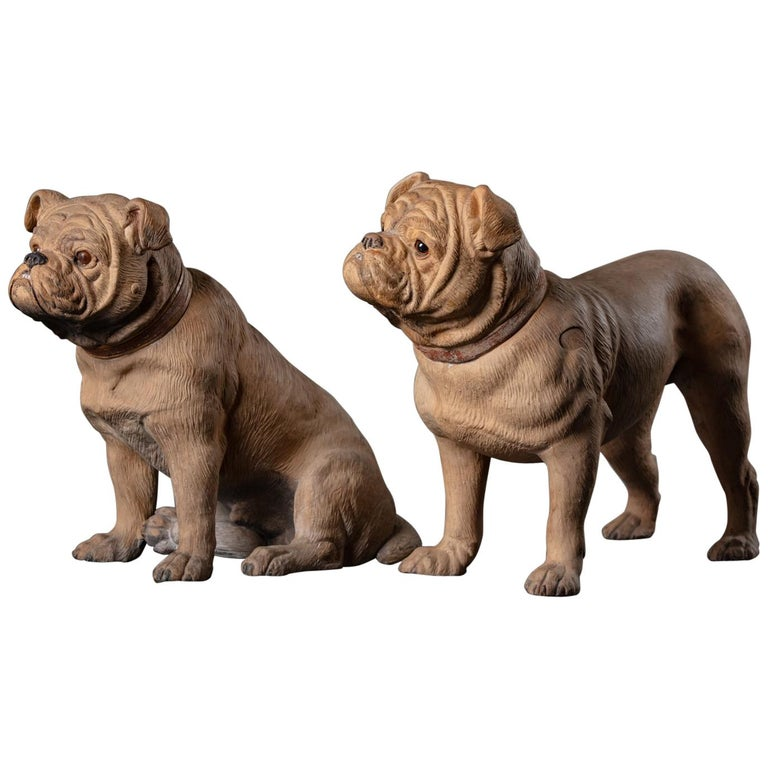 19th Century English Pair of Terracotta Bulldogs For Sale