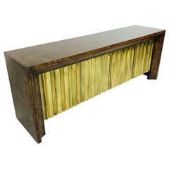 Brass Front Burl Wood Credenza by Mastercraft
