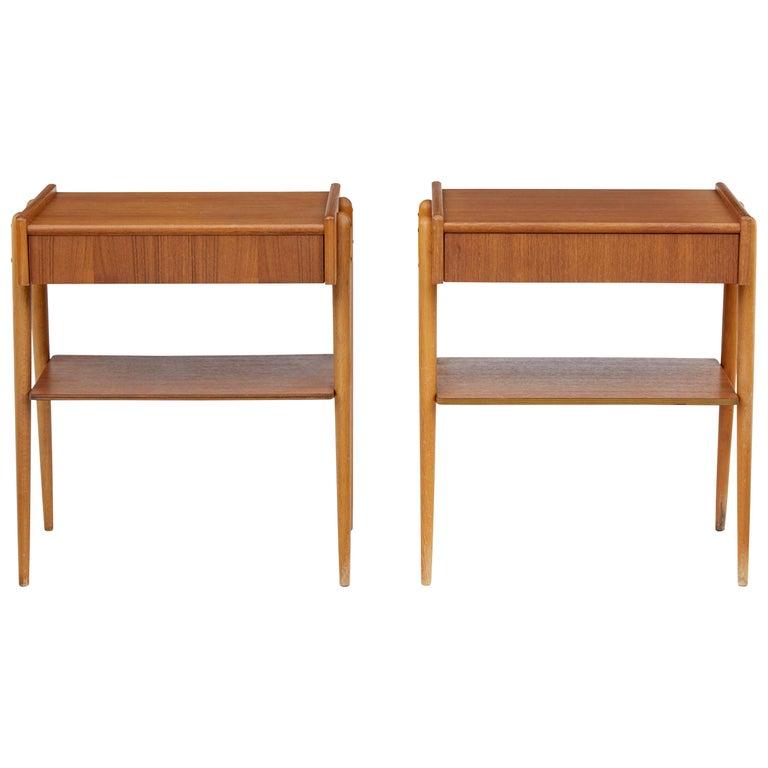 Pair of 1960s Teak Scandinavian Bedside Tables For Sale