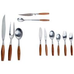 Midcentury Danish Modern Dansk Flatware Set 53 Pieces Teak Stainless Fjord Jens