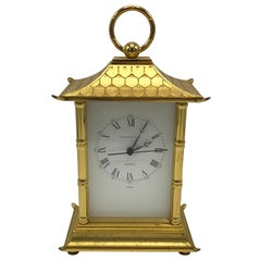 1980s Tiffany & Co. Brass Pagoda Clock with Faux Bamboo Detailing
