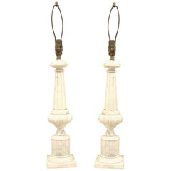 Pair of Italian Neoclassic Style Alabaster Lamps