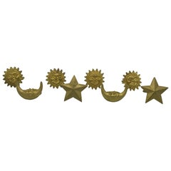 1980s Sun, Moon, and Star Metal Napkin Rings, Set of Six