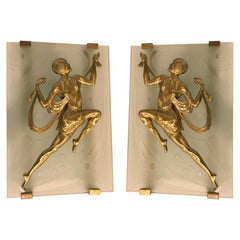 Pair of French Art Deco Style Female Dancer Sconces