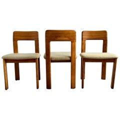 Set of Three Midcentury German Striped Oak Lübke Chairs, 1960s
