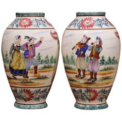 Pair of Early 20th Century French Hand Painted Vases Signed HB Quimper
