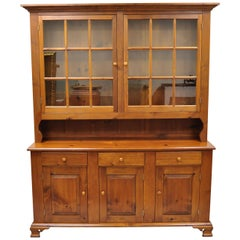 Vintage Tom Seely Pine Wood Step Back Hutch Cupboard China Cabinet
