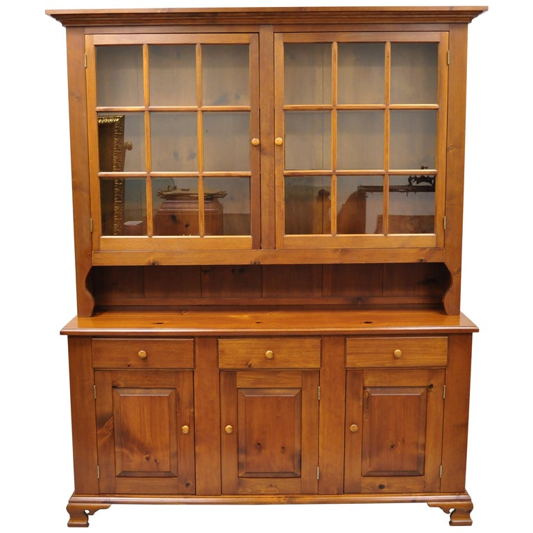 Pine China Cabinet Hutch: Vintage Tom Seely Pine Wood Step Back Hutch Cupboard China