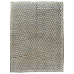 Gray and Silver Diamond and Checkerboard Moroccan Design Rug