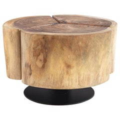 Contemporary Coffee Table in Solid Acacia with Iron Ground Plate Base