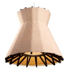 Wrapped Lamp with Blackened Wood Armature and Cotton Shade