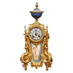 19th Century French Louis XVI Gilt Metal and Porcelain Mantel Clock