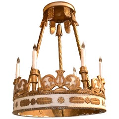 19th Century French Empire Painted Chandelier