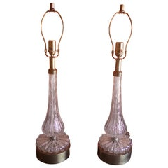 Pair of Barovier & Toso Pink Bullicante Murano Glass Table Lamps