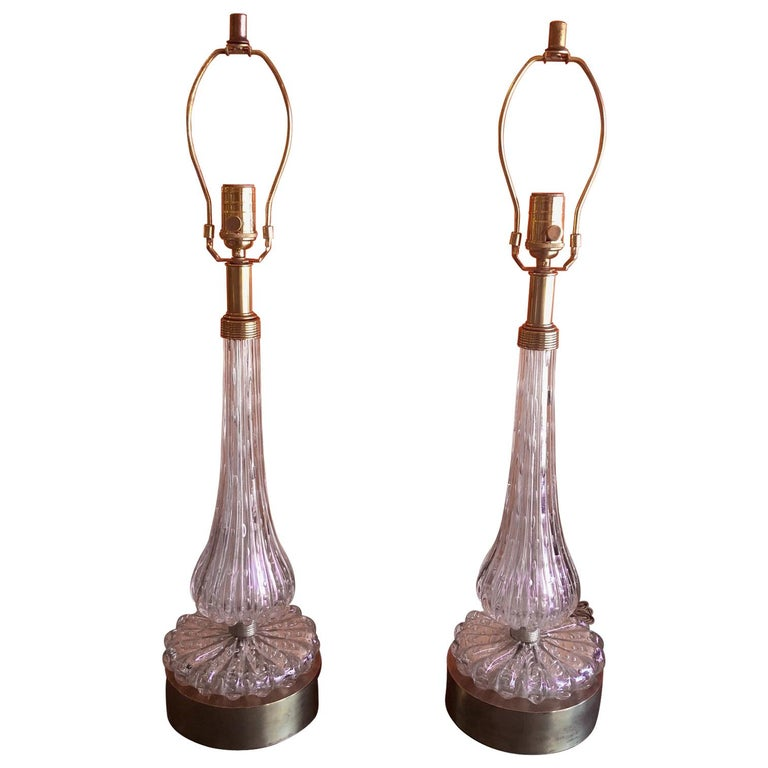 Pair of Barovier & Toso Pink Bullicante Murano Glass Table Lamps For Sale
