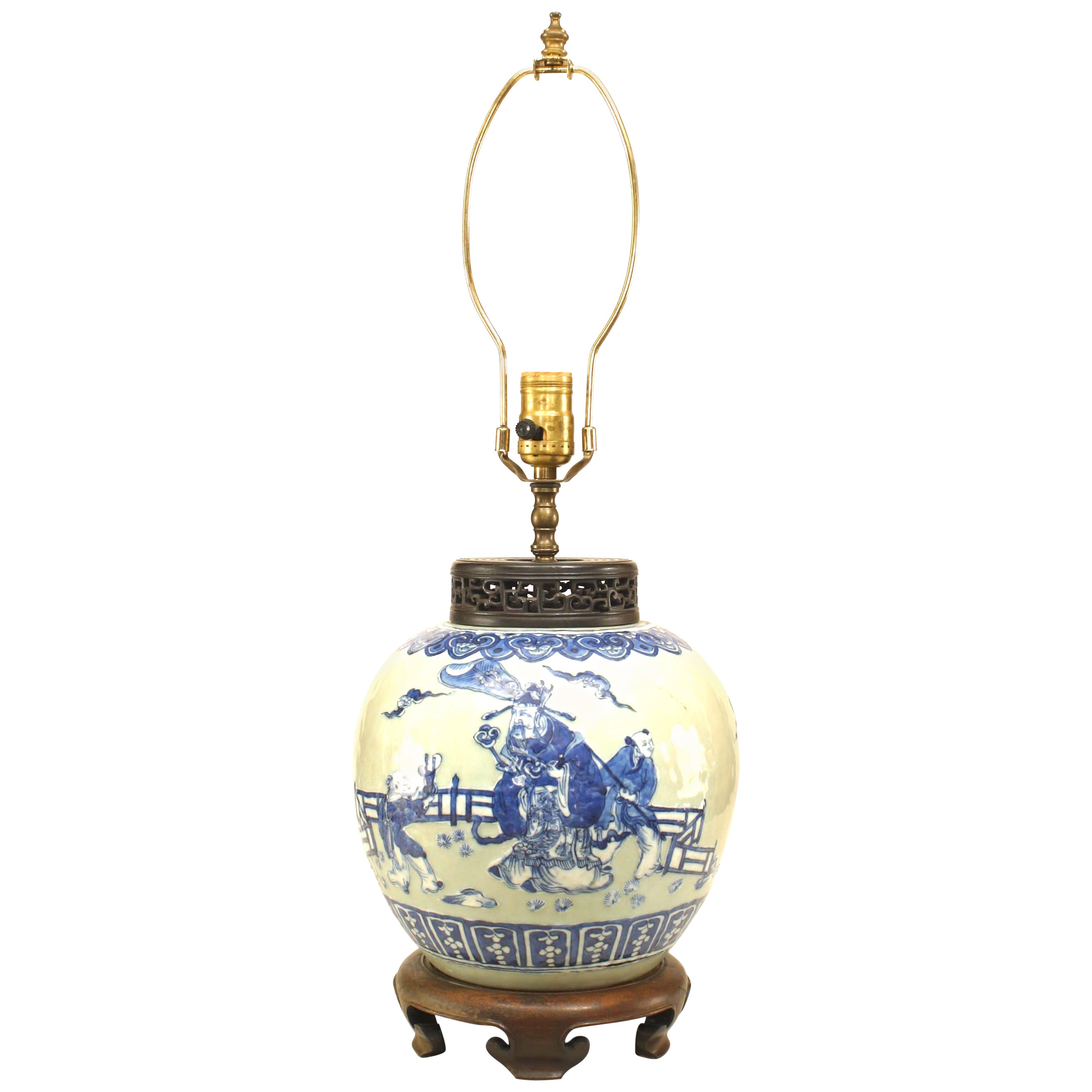 Asian Chinese Style Celadon Porcelain Lamp