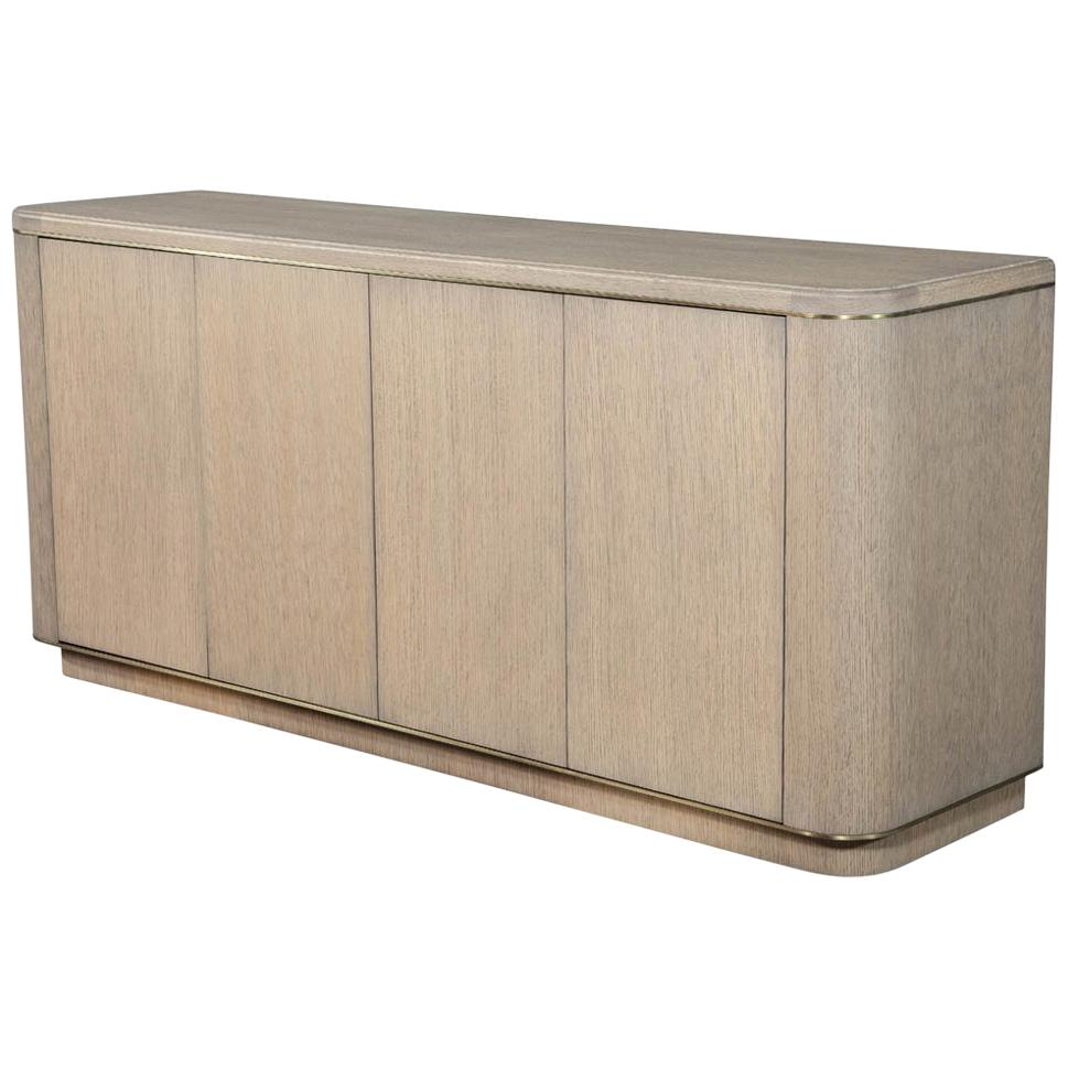 Custom Made Cerused Oak Brass Sideboard Buffet