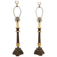 Pair of Empire Style Candlesticks as Table Lamps