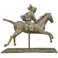 Turaeg Riding Horse on Metal Stand by Sculptor Lara