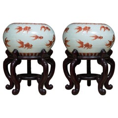 Chinese Porcelain Fish Bowls on Rosewood Stands