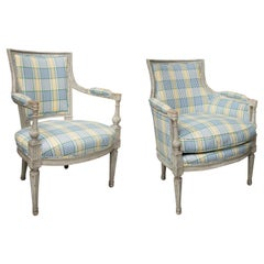 Pair of Companion Gray Painted Directoire Style Upholstered Chairs