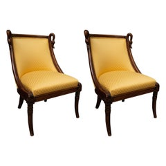 19th Century Pair of Children's Directoire Style Upholstered Chairs