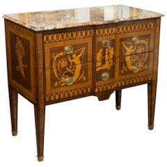 19th Century Italian Marquetry Inlaid Commode with Marble Top